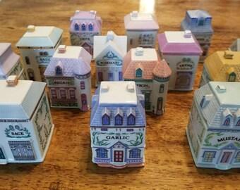 Lenox Spice Village, fine porcelain spice jars, 1989 Spice Village set of 20