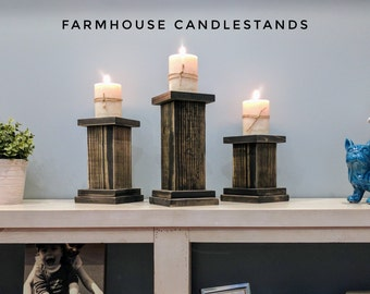 Farmhouse Candle Holder | Shabby Chic Candle Holder | Farmhouse Candle Stand | Rustic Candle Holders | Handmade | Candlestick Holders