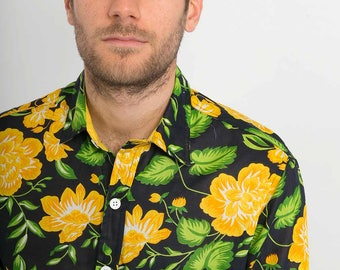 Mens 100% Cotton Long Sleeve Slim Fit Shirt Black Yellow Green Flowers Floral Print Lightweight Material