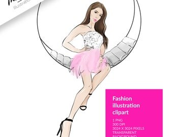 FASHION ILLUSTRATION CLIPART, sketch girls, chic clipart, girl clipart, stickers, party clipart, brown hair clipart, dress clipart, digital
