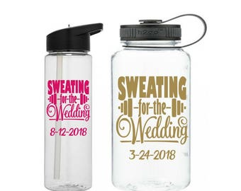 Sweating for the Wedding Water Bottle, Wedding Workout Bottle, Gift for Bride to Be, Engagement Gift, Wedding Water Bottle, Bride Tumbler