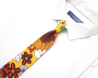 Mens Yellow floral mens Tie Men's tie Wedding Ties Necktie for Men GIFT BOX 265tc