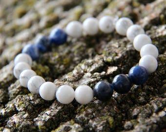 Howlite Crystal Mala Beads with Sodalite Crystal Mala Bead Accents Crystal Mala Bead Bracelet White Blue Mala Bead Bracelet Crystal Healing