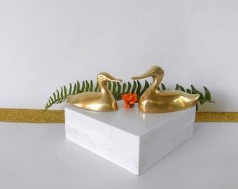 Pair of vintage brass ducks, mid century brass ducks, brass paperweights, duck figurines, pair of little solid brass duck figurines,