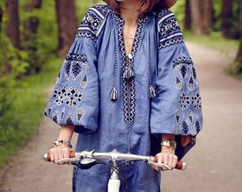 Vyshyvanka Ukrainian dress Linen embroidered dress Long Summer dress Party dress Arabic kaftan Boho dress Abaya Mexican dress  plus size