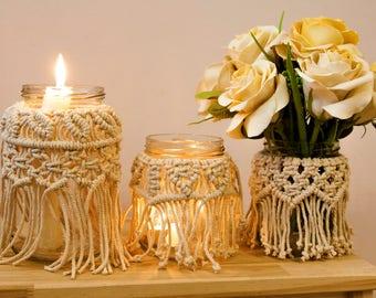Macrame Jar, Macrame Vase, Christmas Decor, Macrame Candle Holder, Vasewrap, Rustic Home Décor, Macrame Décor, Boho Home, Wedding Décor