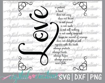Love is SVG, PNG, DXF, Silhouette, Cricut, Valentine's svg, heart svg, valentine design, love svg, love png, cut file, 1 Corinthians 13:4-8