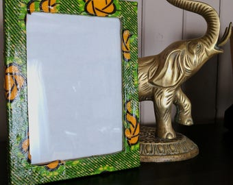 Fabric Covered Picture Frame, Ankara Fabric Covered Picture Frame, Photo Frame, Upcycled Picture Frame