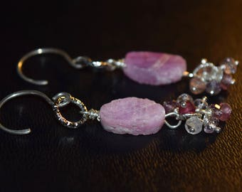 Raw Natural Earth Made~  Rubies and Spinel Earrings~ Stone and Sterling Silver Earrings~ Valentine's Day Gift For Her~ July Birthstone