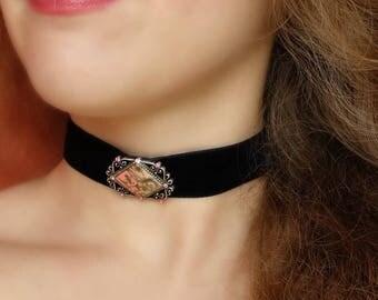 Black Velvet Choker Crystal Choker Wide Black Choker Vintage Choker Victorian Choker Choker For Women Gift for Women Unique Jewelry Gift