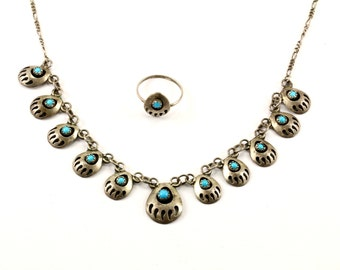 Vintage Navajo Turquoise Stone Bear Paw Design Necklace & Ring Set 925 Sterling NC 671-E
