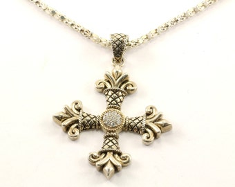 Vintage 14K Plated Cross Necklace 925 Sterling NC 1063