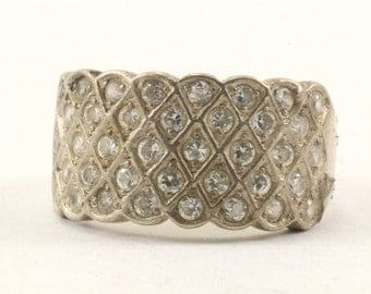 Vintage Multiple Layers Of CZ Ring 925 Sterling RG 2759