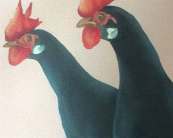 "black leghorn chicken painting ""The Runners"""