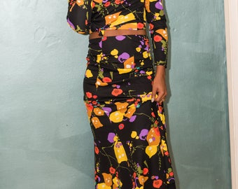 Vintage/ Groovy/ Two Piece Set/ Long Sleeves/ Maxi Skirt/ High Neck Line