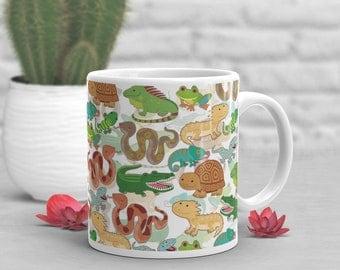 Reptile Coffee Mug, Cute Lizard Gift, Snake Lover, Funny Bearded Dragon Mug, Gift for Her, Him, Housewarming, Birthday Gecko Tortoise Iguana