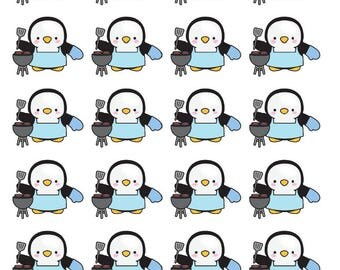 Penguin Grilling Time Planner Stickers - All Planner Sizes - Erin Condren, Happy Planner, Recollections, TN