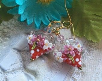 Heart Lampwork Earrings, Red & White Polka Dot Earrings, Lampwork Jewelry, Gift For Her, SRA Lampwork Jewelry