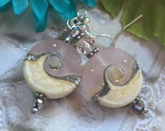 Light Lavender Shell SRA Lampwork Earrings, Lampwork Earrings, Lampwork Jewelry, Beach Earrings, For Her, SRA Lampwork