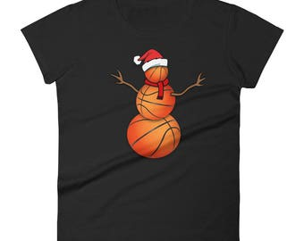 Funny Christmas Shirt for Basketball Lovers Funny Christmas Basketball Ball Santa Snowman T-Shirt