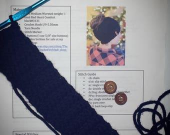 Pattern, Messy Bun Hat Pattern, Messy Bun Beanie Pattern, Crochet Pattern, Hat Pattern, Crochet Hat Pattern