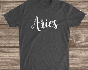 Aries Dark Heather Grey T-shirt - Zodiac Sign Birthday Shirt - Aries Gift - Women's Birthday Shirts - Custom Birthday T-shirts