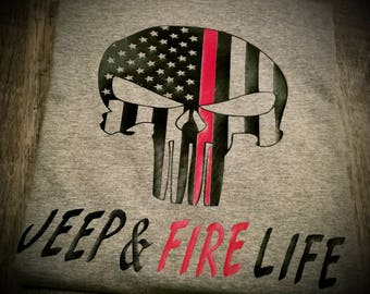 Thin Red Line, Firefighter, Fire, Fire Life, Jeep, Jeep Life - Can Have Choice of Any Quote You'd Like
