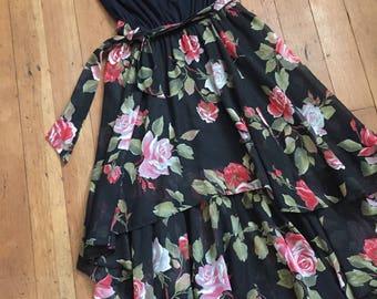 vintage 1970s floral dress // 70s strapless rose print dress with belt