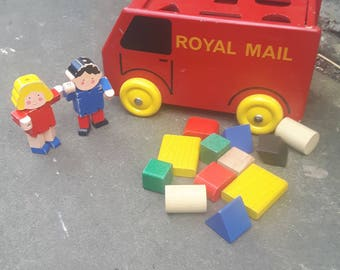 Vintage Retro Child's Children's Wooden Wood Royal Mail Van Classic Toy Shapes Blocks Red & Yellow