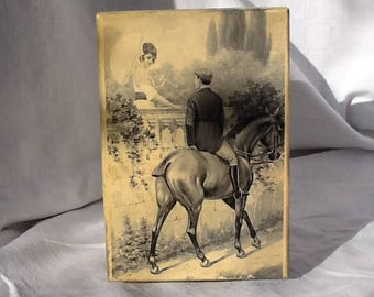 boxes, vintage, gift, ladies and knights, horse, ' 900, door objects, gift box, vintage postcards, Valentines, love, meeting.