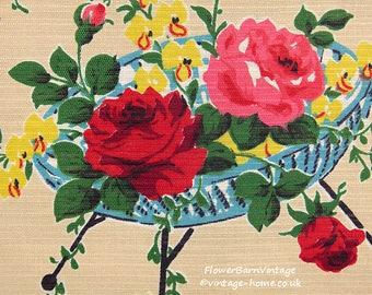 Superb 1950s Floral Baskets Fabric