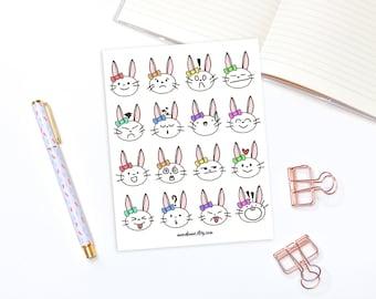 Bunny mood stickers - 16 kawaii animal stickers, planner stickers, bullet journal stickers, mood tracker stickers, moonbunny stuckers