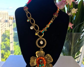 Gold-tone Flower Stainless Steel Pendant and Coloured Leather Necklace