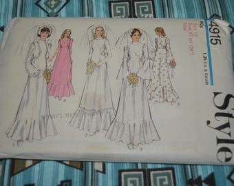 """Style 4915 Misses Wedding or Bridesmaid's Dress Sewing Pattern - UNCUT -  Size 12 Bust 34"""""""