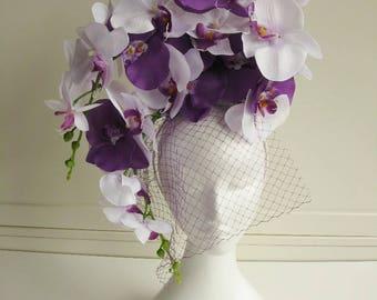 Orchids head Abdulkarim purple white with netting fascinator wedding bridal formal summer headpiece