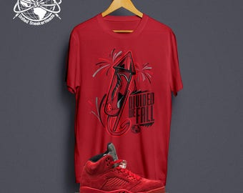 "Red Suede 5 ""Firework"" T-Shirt : Retro 5 Red Suede Tee"