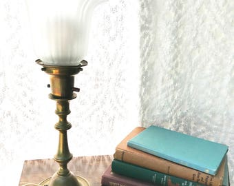 vintage brass torchiere lamp hollywood regency brass table lamp floral glass shade accent lamp - Torchiere Lamp