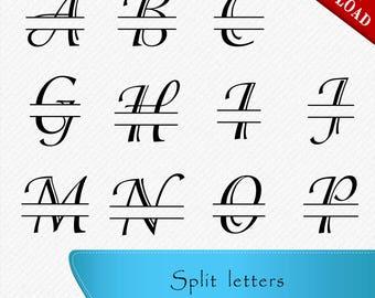 Split letters SVG, Numbers SVG, Split Monogram Letters, Split Alphabet svg files, svg font for cricut, Silhouette, Clipart, svg, dxf,eps,png