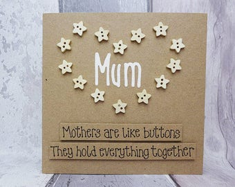 Birthday card for Mum, Mother's Day card, Handmade buttons card for Mom / Mom, Happy Mother's Day card, Mothering Sunday card for Mom / Mum