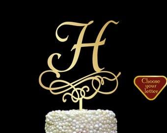 Letter h cake topper, Gold Initial Cake Topper, Wedding Cake Topper Single Letter, Single Letter Cake Topper, Monogram Cake Toppers, CT#216