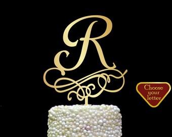 Letter r cake Topper, Gold Initial Cake Topper, Wedding Cake Topper Single Letter, Single Letter Cake Topper, Monogram Cake Toppers, CT#219