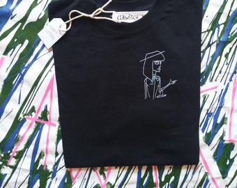 Hand embroidered black shirt / black hand embroidery shirt / size M