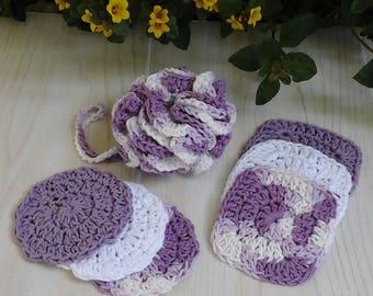 Crochet Face Scrubbies, Crochet Bath Puff, Crochet Bath Set, Facial Scrubbies, Bath Pouf, Crochet Scrubby, Crochet Washcloth