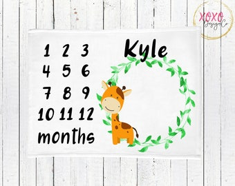Personalized Baby Blanket / Monthly Milestone Blanket Boy / Giraffe Baby Blanket / Baby Giraffe Baby Shower / Baby Monthly Milestone Blanket