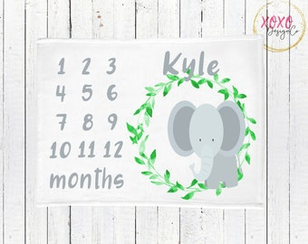 Baby Monthly Milestone Blanket / Elephant Baby Blanket / Elephant Minky Blanket / Gift For New Mom To Be / Watercolor Elephant Nursery Gift