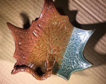 Stoneware Sycamore Leaf Dish / Sculptured Sycamore Leaf