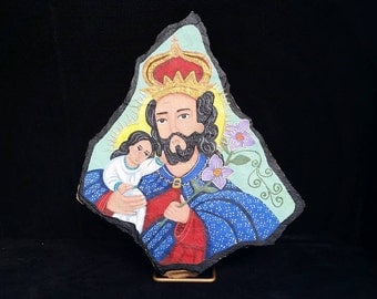 San José with Child - flagstone retablo, OOAK painting.