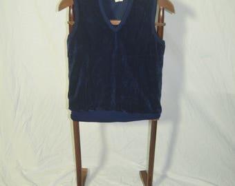 Vintage Mens Blue Velour Pullover Vest - Size 36