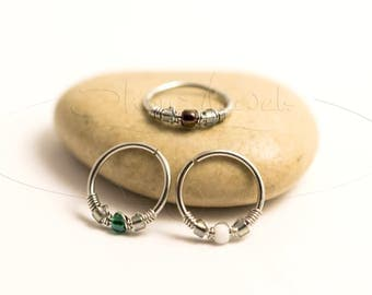 20G 22G Sterling or Surgical Steel Nose Hoop Ring or Cartilage Earring