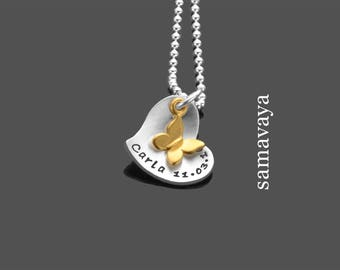 Name chain hearts Butterfly 925 Silver necklace for kids